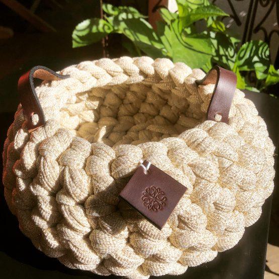 vannerie de coton or pâle