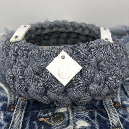 Corbeille en jean Denim cuir blanc