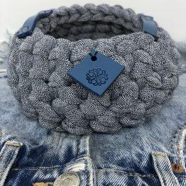 Corbeille en jean Denim cuir bleu