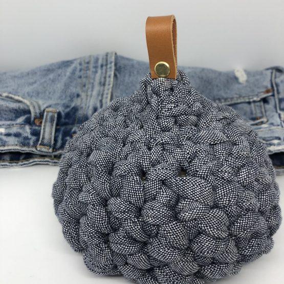 Cale porte en vannerie de coton jean denim