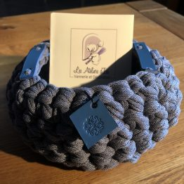 corbeille jean gris cuir bleu