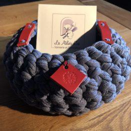 corbeille jean gris cuir rouge